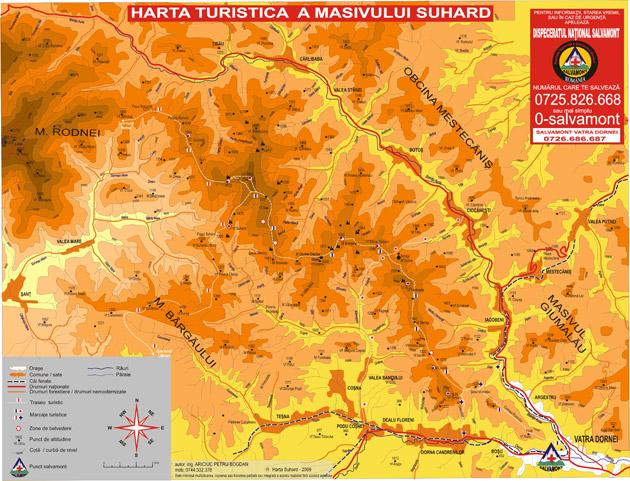 Munții Suhard - harta traseelor turistice montane