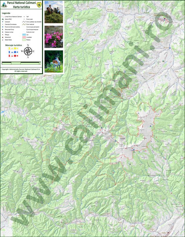 Parcul Național Călimani - harta turistică